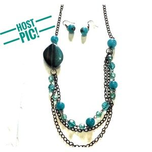 HOST PIC Black & Teal necklace & earring set